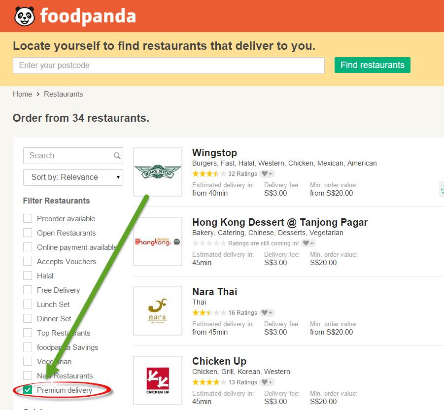 foodpanda sg premium delivery